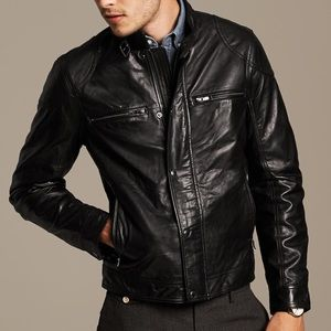 Men's banana republic black leather Moto jacket
